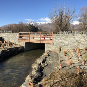 This is a pretty classy install of one of our Box Culverts as a crossing at Waterfall Park, Arrowtown. Note the flat wing walls to imitate a bridge.
